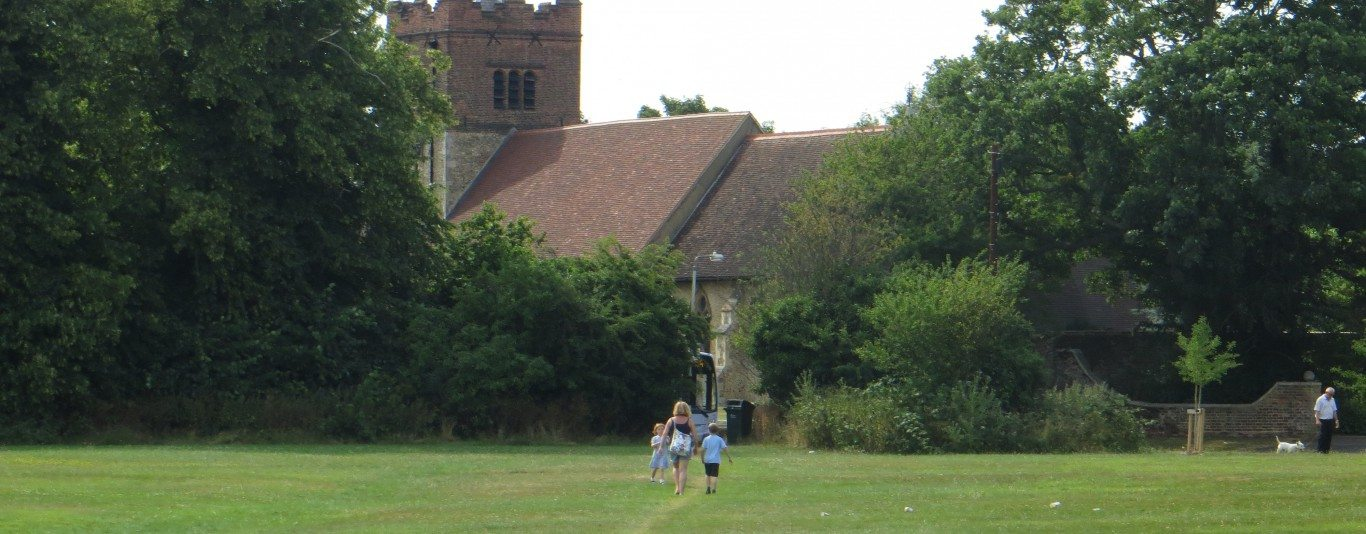 Looking at the church across the green