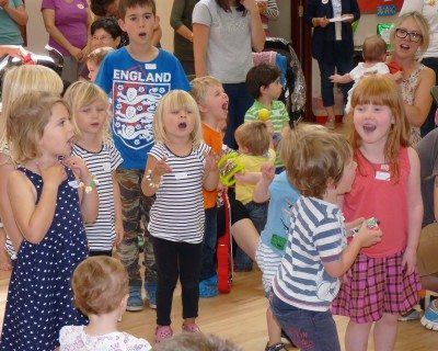 Children taking part in one of our services