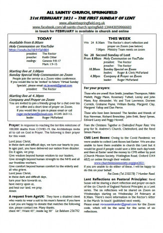 Cover of Weekly Sheet for 21st February