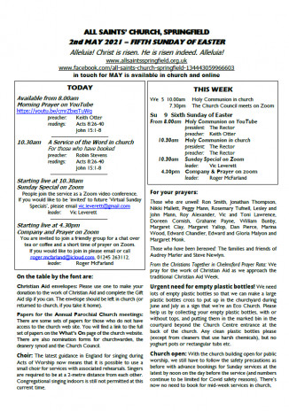 Cover of Weekly Sheet for 2nd May