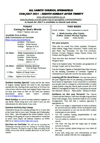 Cover of Weekly Sheet for 25th July