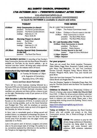 Cover of Weekly Sheet for 17th October